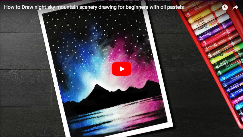 Pastel Tutorial How To Draw Night Sky Mountain Scenery Drawing For
