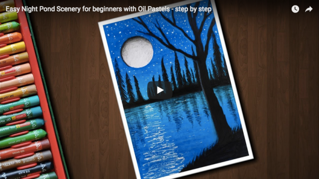 Pastel Tutorial Easy Night Pond Scenery For Beginners With Oil