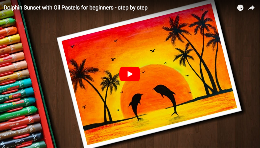 Pastel Tutorial Dolphin Sunset With Oil Pastels For Beginners