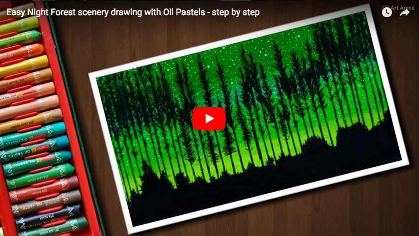 Pastel Tutorial Easy Night Forest Scenery Drawing With Oil Pastels
