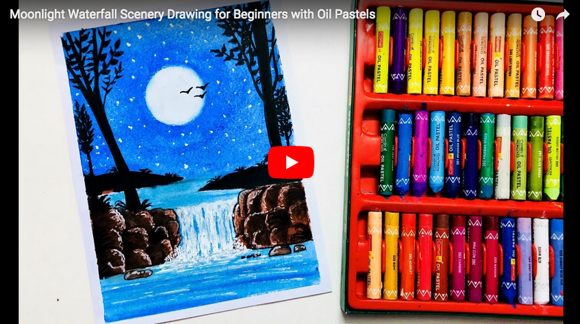 Pastel Tutorial Moonlight Waterfall Scenery Drawing For Beginners