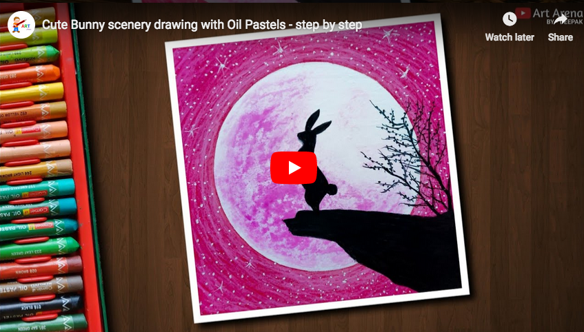 Pastel Tutorial Cute Bunny Scenery Drawing With Oil Pastels Step